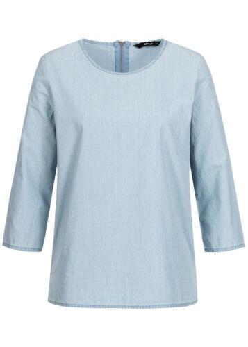 50/% OFF B17053175 Damen Only Bluse Jeans Bluse 3//4 Arm Zipper hinten hell blau