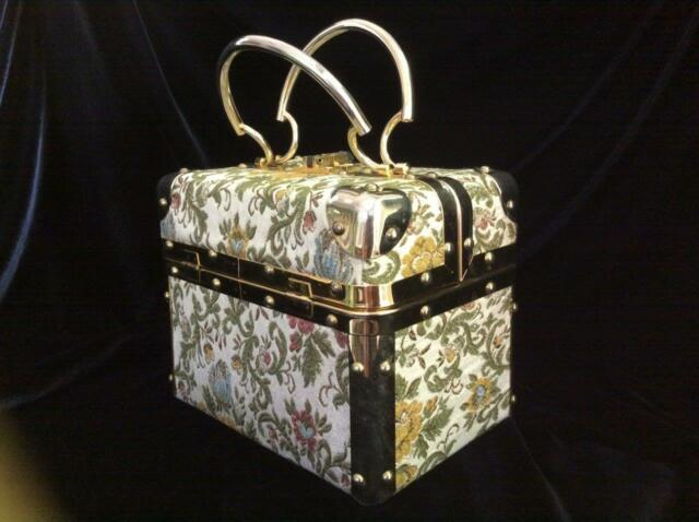 Vintage Delill Hard Case Purse, Made in Italy, Gold Flecked Floral Tapestry