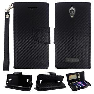 ZTE-Obsidian-Z820-Carbon-Fiber-Leather-Premium-Wallet-Pouch-Flip-Case-Accessory
