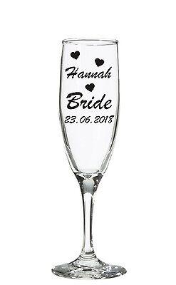 Nombre Personalizado Boda Nupcial Fiesta Pegatinas de Vinilo Calcomanía champán Wine Glass