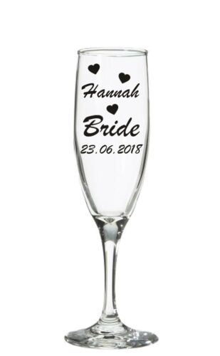 Wedding Bridal Party Vinyl Personalised Custom Champagne Wine glass sticker Date