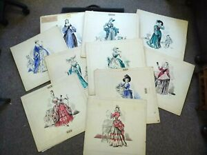 Original-Historical-Fashion-Costume-Sketches-drawings-x10-Simpson-1950s-50s