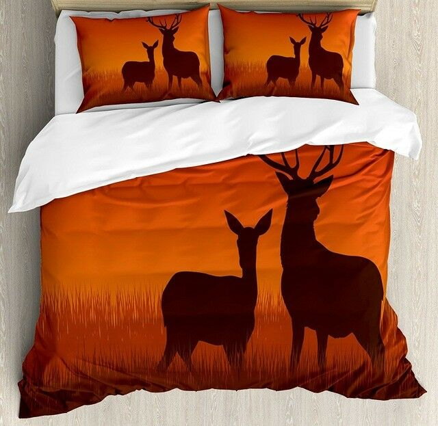4pc. High Quality Scenic Deer Cotton Queen King Dimensione 300TC Duvet Cover Set