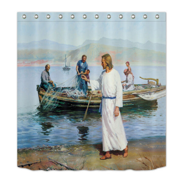 Fisherman Jesus Shower Curtain Set Bathroom Polyester Waterproof Fabric 72x72 Hover To Zoom