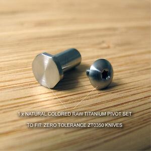 Zero-Tolerance-ZT0350-ZT-350-Knife-Natural-RAW-Titanium-Ti-Pivot-Torx-Screw-Set