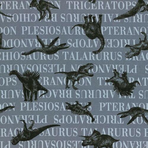 Sale 100/% Japanese Cotton Fabric Lecien Nico Prehistoric Dinosaurs /& Names