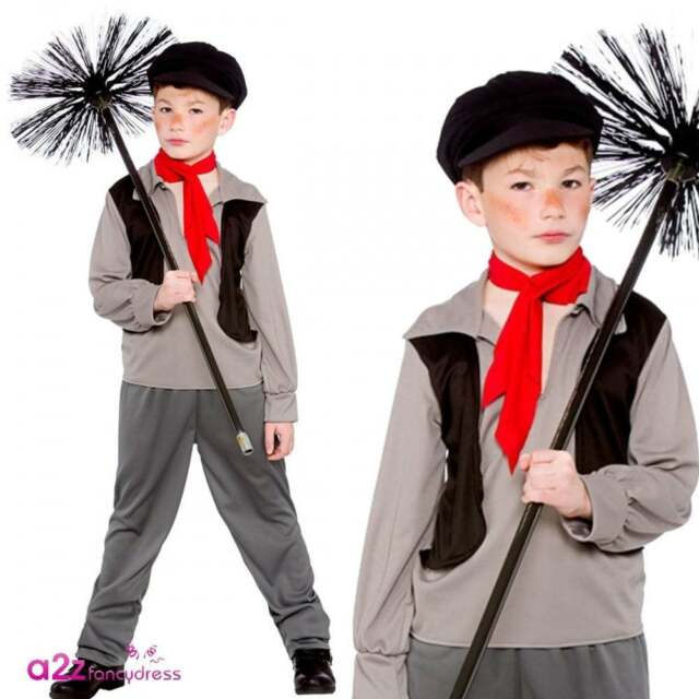Victorian Chimney Sweep Boys Kids Historical Fancy Dress Costume Book Day Urchin