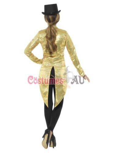 Ladies Gold Tailcoat Sequin Costume Cabaret 20s Jazz Gatsby Magician Top Jacket