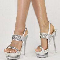 Damenschuhe Silber 35-40 Plateau Strass NEU Pumps Damen Schuhe Party High Heels