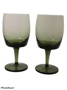 Vintage Mid Century Modern Green Glass Stem Wine Glasses Set Of 2 EUC