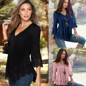 Plus-S-5XL-Women-Lace-Crochet-Floral-Bell-Sleeve-Loose-Blouse-Tops-Shirt