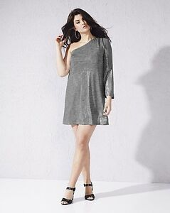 be1860d7518 Image is loading SEXY-SIMPLY-BE-ONE-SHOULDER-METALLIC-DRESS-NWT-