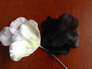 Vintage Millinery Flower Velvet Chiffon Choose White or Black for Hat + Hair iY5