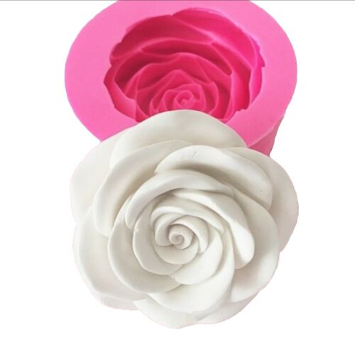 Moule Silicone Fleur Rose 3D Nature 10cm pour Plâtre Pâte Polymère Fimo Argile