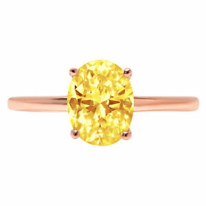 1.89ct Oval Cut Wedding Engagement Promise Bridal Solitaire Ring 14k Rose Gold