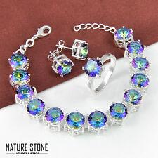 3pcs 1 Lot Round Cut Rainbow Mystic Topaz Silver Bracelet Ring Earrings Size 7
