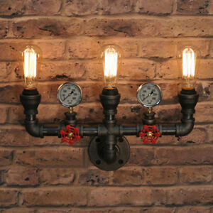huge selection of 75c20 d8f33 Details about Steampunk Wallmount Light Pipe Sconce Industrial Valve Wall  Vanity Lighting