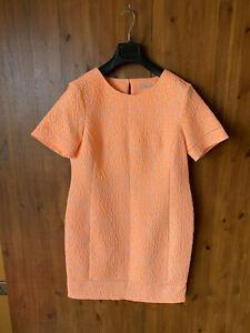 M S Collection Shift Dress Neon Orange Leopard Animal Print Uk 12 40 New Ebay
