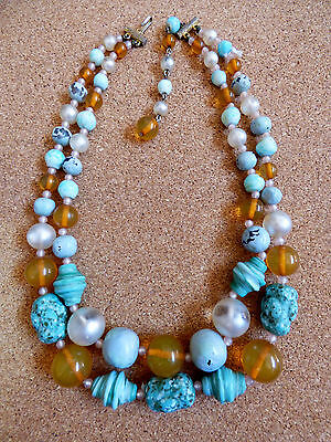VTG Two strand glass blue turquoise faux  & honey lucite necklace 20.5""
