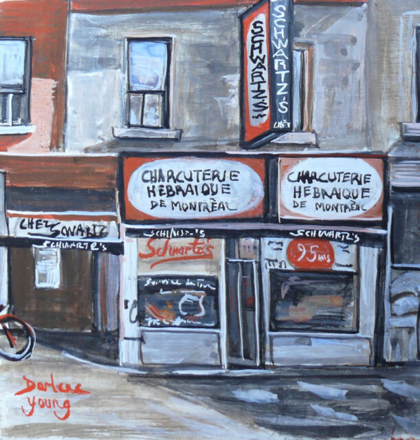Schwartz's Deli Montreal, Set of Two Miniatures, Darlene Young Canadian Artist