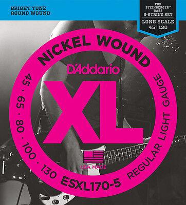 D'Addario ESXL170-5 Double Ball End Regular Light Gauge 5 String Bass Strings