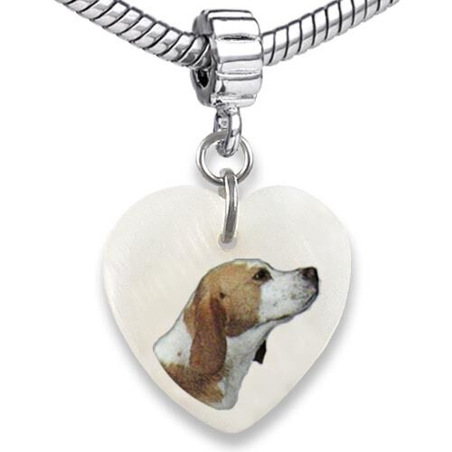 Beagle Dog Heart Dangle Mother Of Pearl European Bracelet Charm Bead EBS163