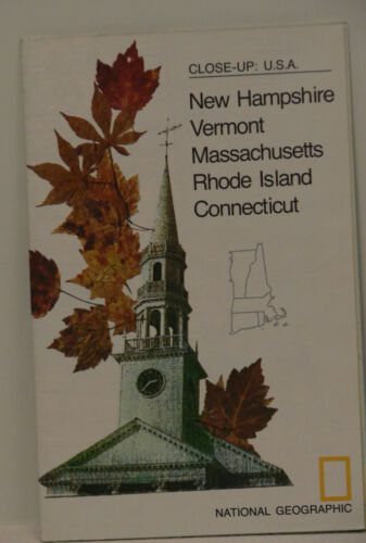 Vintage 1975 National Geographic Map of New Hampshire Vermont Massachusetts ..