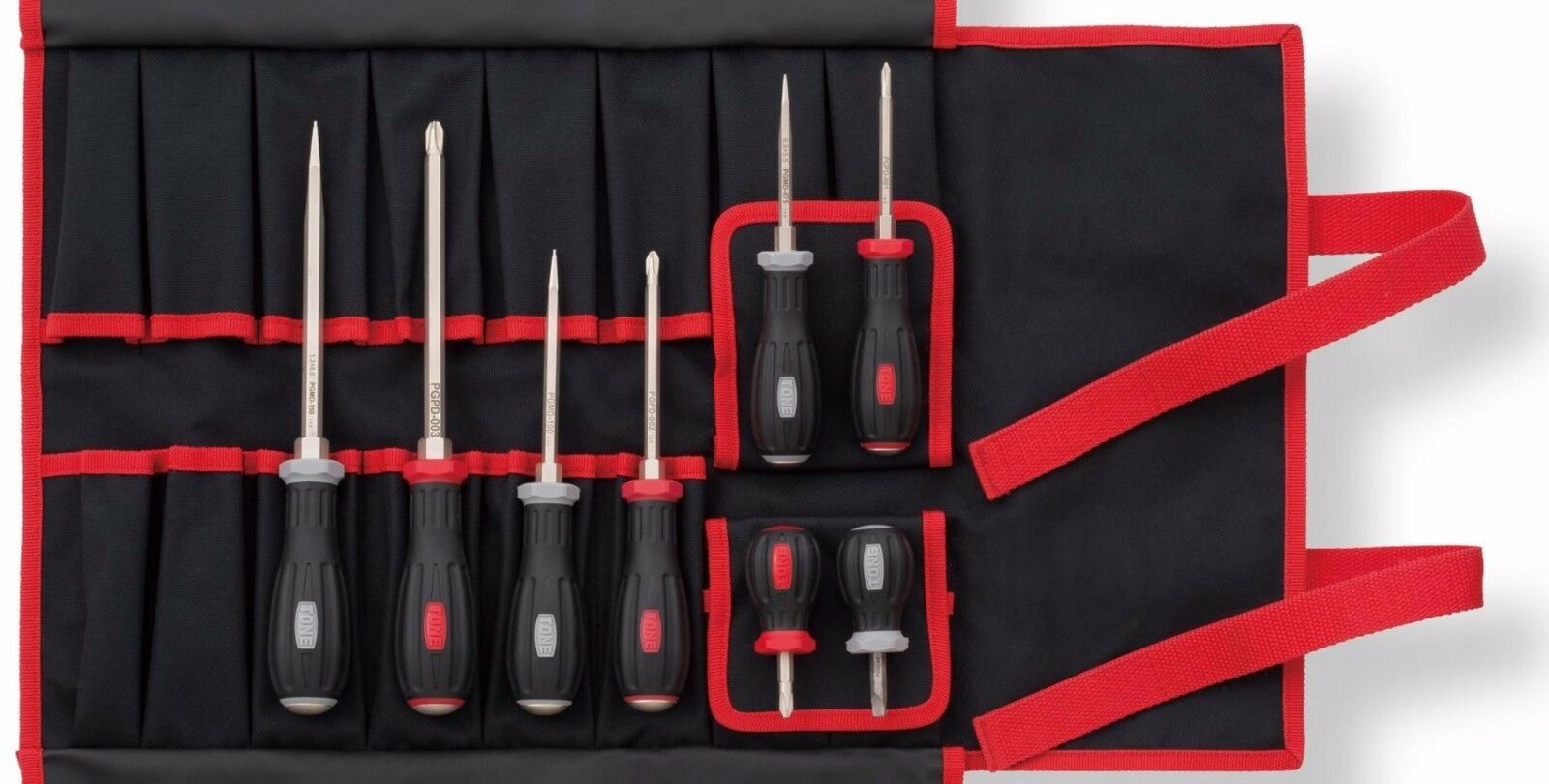 TONE / POWER POWER POWER GRIP SCREWDRIVER SET (8 PIECES WITH BAG) / PGD8 / MADE IN JAPAN af7dbb