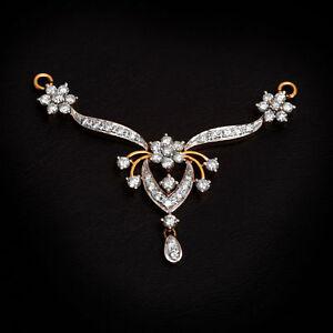 Pave-1-20-Cts-Runde-Brilliant-Cut-Diamanten-Mangalsutra-Anhaenger-In-14K-Gelbgold
