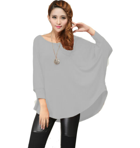 Stylish Women Ladies Loose Batwing Asymmetric Quality Knitted Baggy Top //Jumper