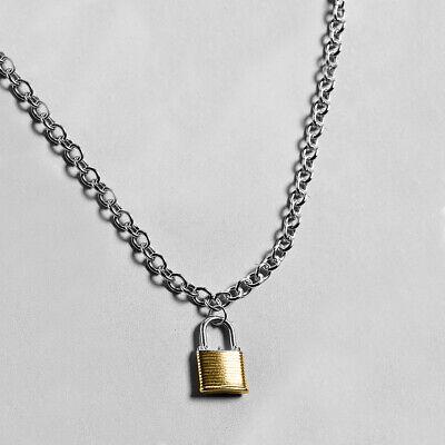Lock Chain Pendant Necklace Punk Goth Padlock Charm Long Necklace Women Men Cool