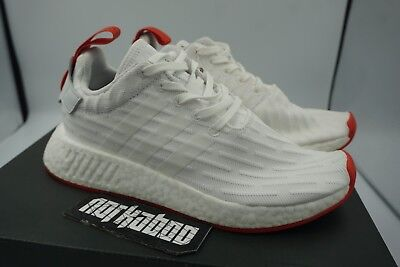 ADIDAS NMD R2 PK WHITE CORE RED Primeknit Boost