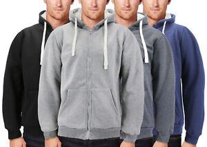 Men's Thermal Zip Up Hoodie Sweater Warm Heavyweight Sherpa Lined Jacket
