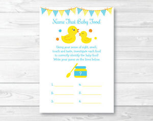 image regarding Baby Food Game Printable named Data with regards to Rubber Duck Popularity That Boy or girl Foods Child Shower Video game Printable