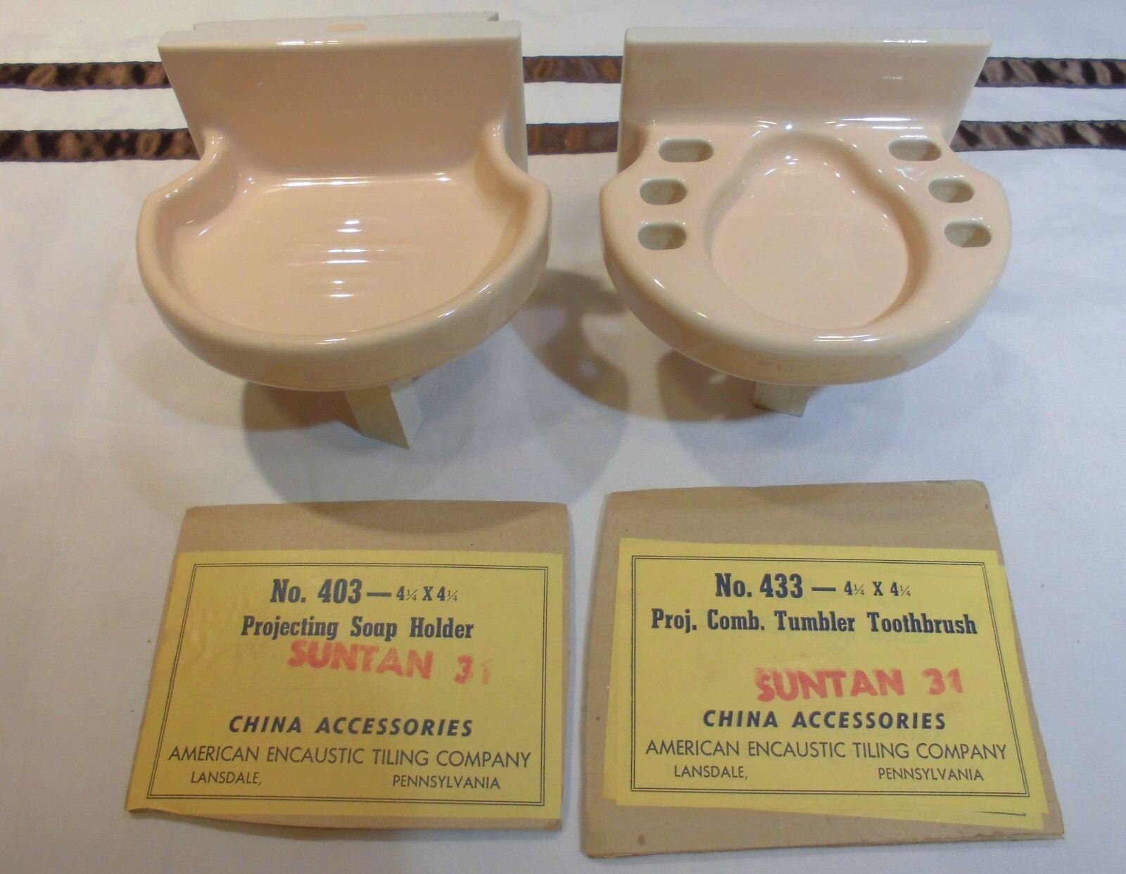 Vintage Peach-Beige Sink Set ceramic soap dish & cup holder by American Olean