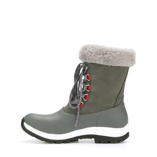 Muck Womens Apres AG Lace WALV-100 Mid Grey//Red Vibram Grip Snow Winter Boots