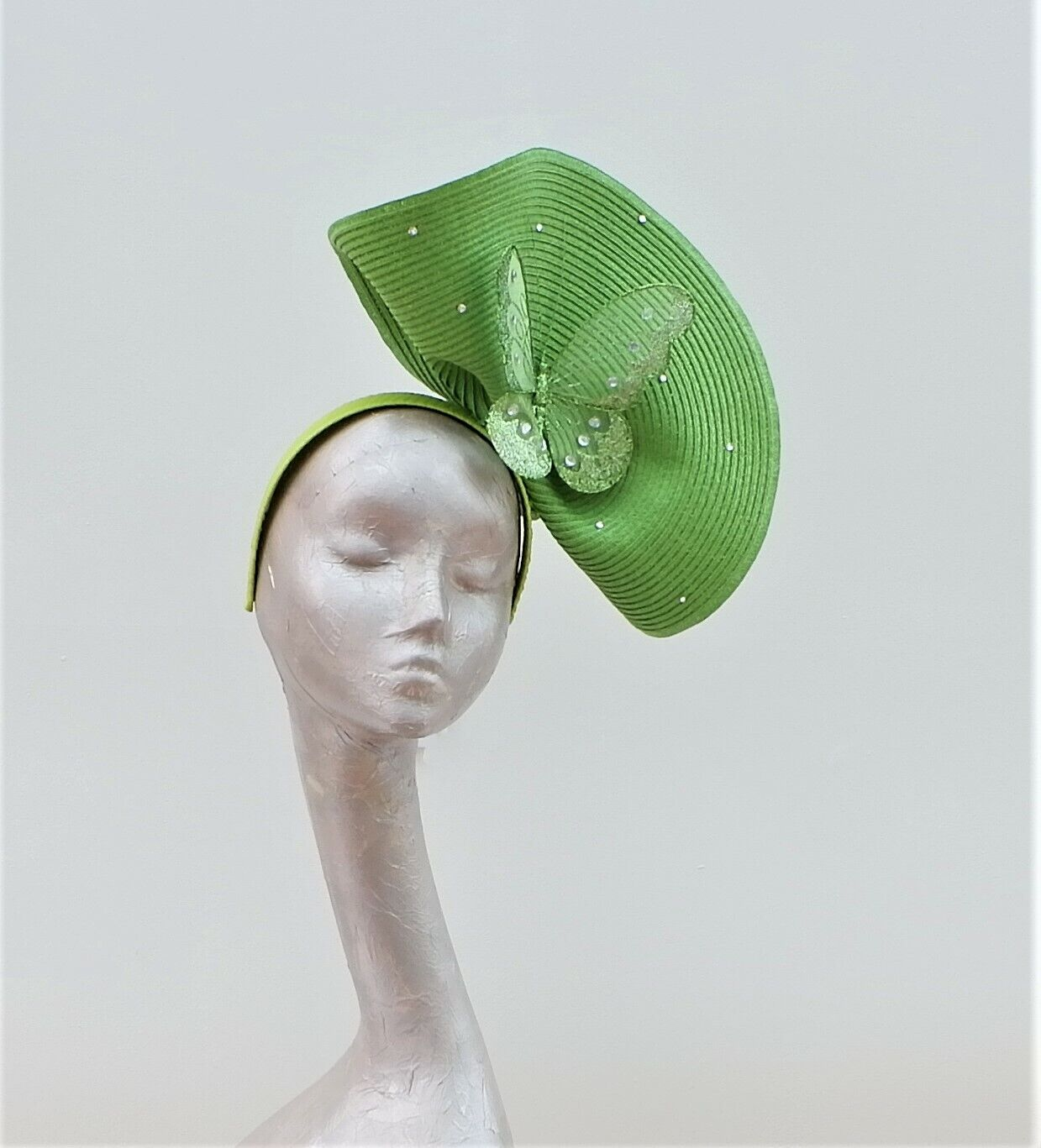 Forest Green butterfly Fascinator By Hats2go