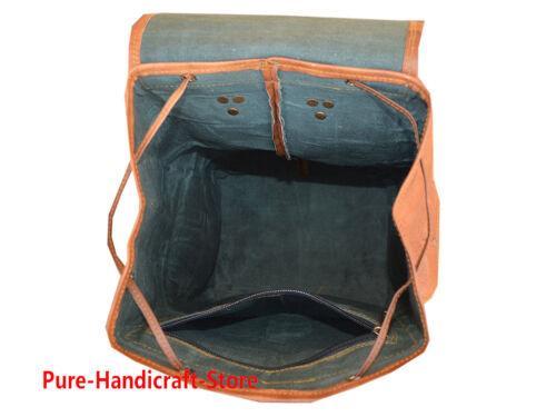 Delux Vintage Mens Leather Back pack Rucksack Laptop Messenger Bag Satchel
