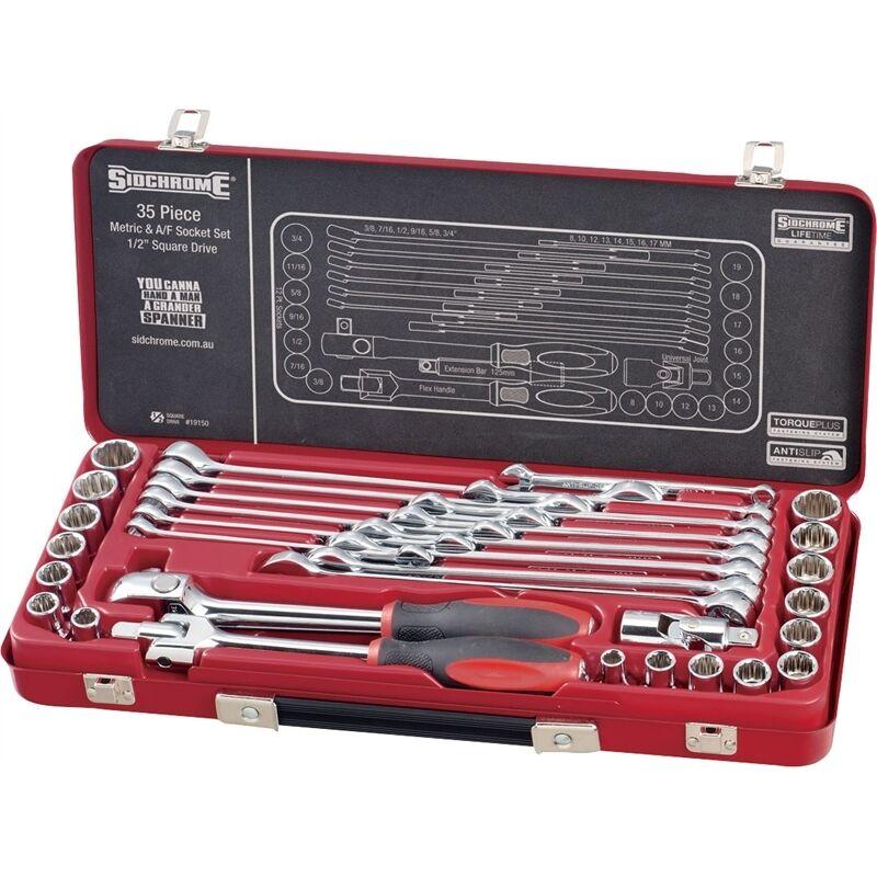 Sidchrome 35 Piece 1 2  Drive Socket and Spanner Set SCMT19150 Metric and AF