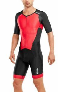 New-2XU-Men-Perform-Full-Zip-Sleeved-Trisuit-Triathlon-Tri-Suit-Black-Red-Medium