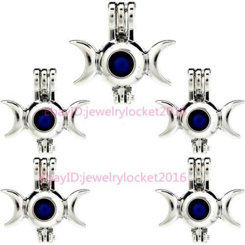 Silver Color Pearl Cage Solde triple moon médaillon Diffuseur 5X-K917