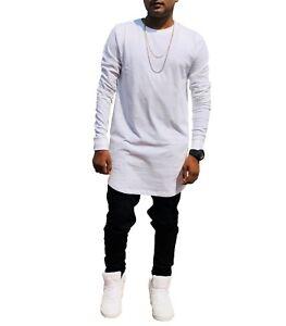 Men 39 s longline full sleeve apple cut t shirt white ebay for Cut shirts for men