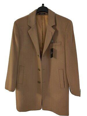 LONDON FOG Mens Signature Wool Blend Top Coat 44L Camel