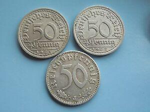 Germany-50-pfennig-Aluminium-1921-1922-amp-1935-Good-Condition