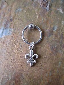 Fleur De Lis Cartilage Piercing Captive Ring Tragus Earring 16 Gauge