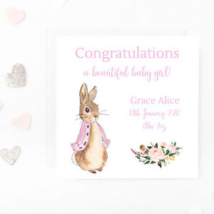 personalised new baby girl card peter rabbit beatrix potter arrival