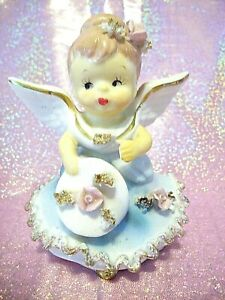 VTG Lefton Japan Angel Holding Pink Rose Bell Figurine