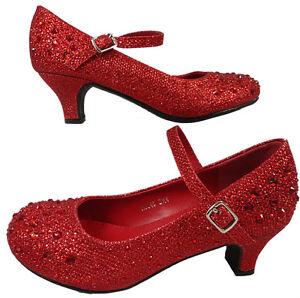 e58e876f9c09 Girls Red Diamante Party Bridesmaid Kitten Low Heel Shoes Glitter ...