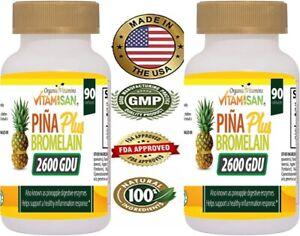 2600 GDU Bromelain 180 Capsule 100mg from Pineapple Digestive Supplement Pill VB