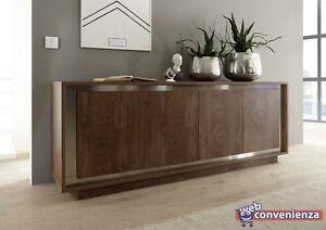 Sky Madia 4 Ante Cognac credenza moderna legno mobile contenitivo | eBay